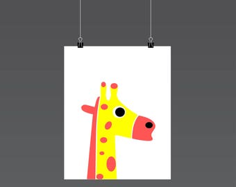 Giraffe Nursery Print, Giraffe wall art, Digital Download, Animal Nursery Wall Art, Kids Art, Nursery Art Print, Nursery Decor, Kids Print