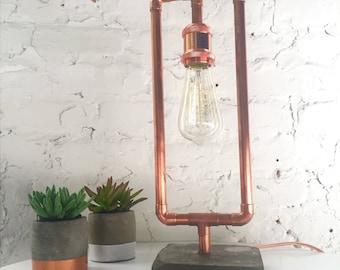 Vintage Industrial Copper & Concrete Lamp