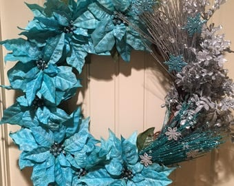 Turquoise/Blue and Silver Handcrafted Wreath