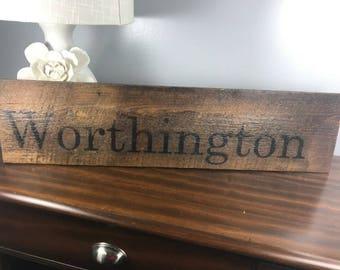 Reclaimed Ohio Barn Wood Sign Worthington