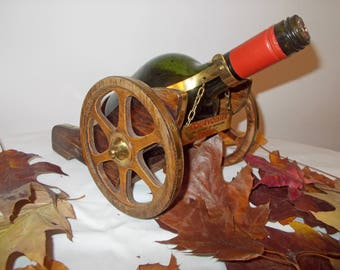 "Vintage Courvoisier Cannon Display   Cognac, VSOP, Napoleon Cannon, Wood Decanter wagon, Half Gallon, for 12"" tall bottle, novelty barware"