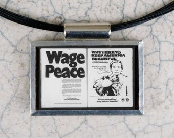 Wage Peace Microfiche Necklace - Life Magazine 7-4-69