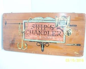 Large Vintage Nautical Ship Chandler Wood Sign Beach House Anchor Nautical Prop Bar Decor Man Cave Signed