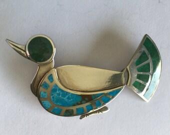 OBO - Peru Graziella Laffi Sterling Silver & Enamel Bird Duck Brooch Pin