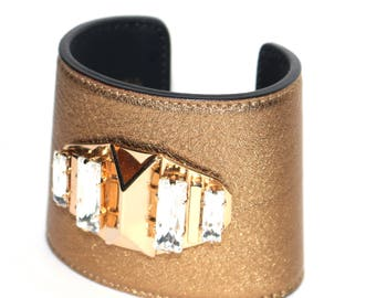Leather cuff  with Swarovsky crystals and brass gold finish