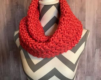 Bright Bold Coral Infinity scarf