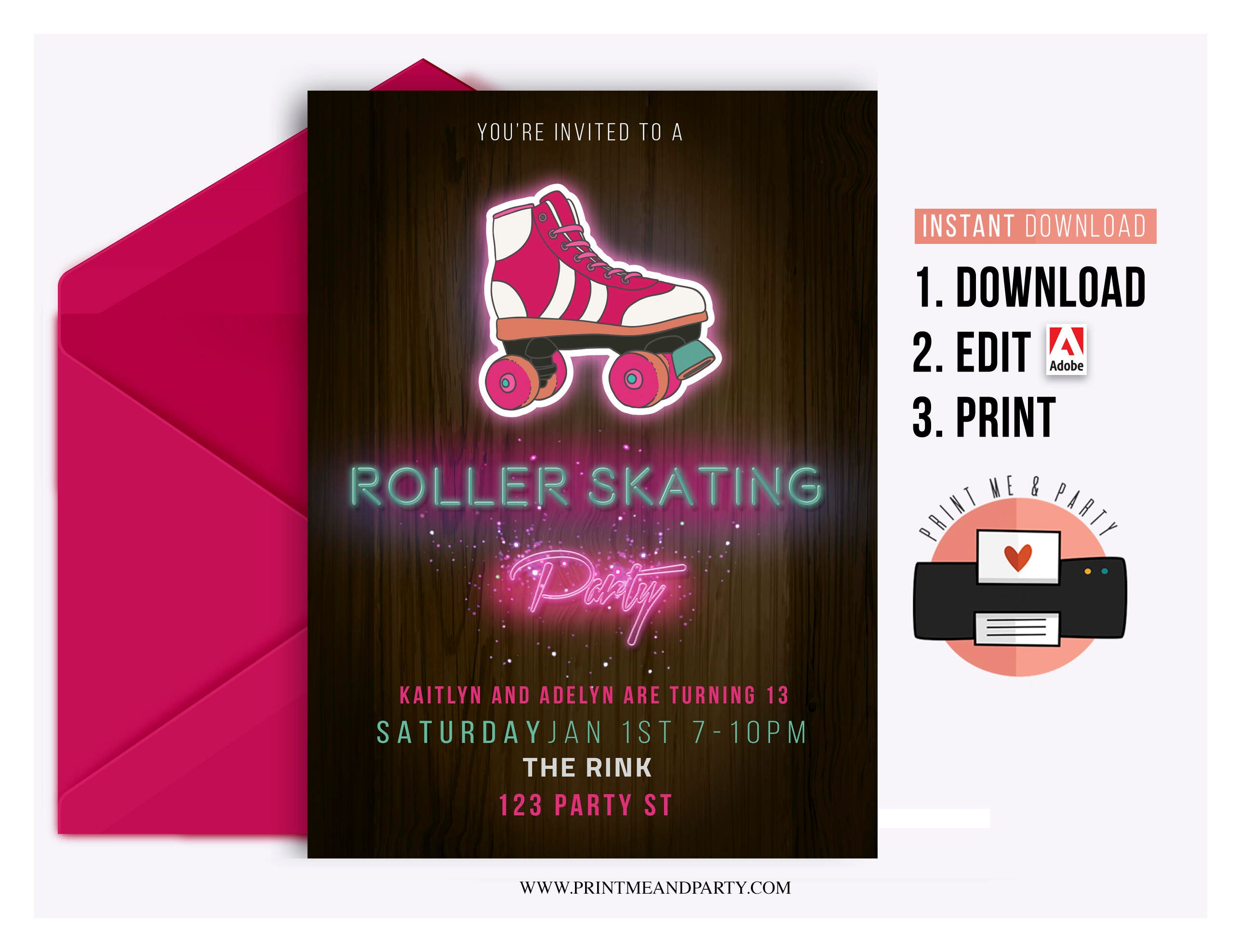 Roller Skating Party Invitation - Instant Download Roller Rink Party