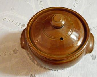 Pearson's of Chesterfield crock, bean pot, casserole, 2 pt., Made in England, crock, bean pot