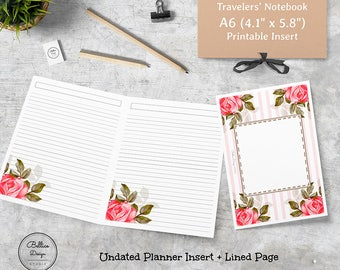 Lined Notebook, Plain Lined, Lined Journal, A6 Daily Planner, A6 Printable Daily Insert, A6 TN Printable, Blank Planner, Refill Notebook