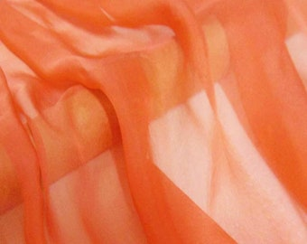 Super soft Pure Mulberry Silk Solid Orange  pure silk chiffon fabric material sheer # hac 22,