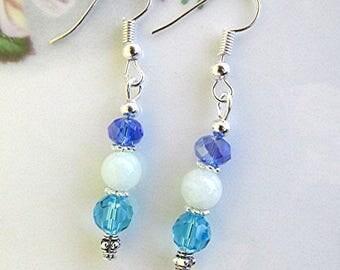 Blue gemstone earrings amazonite earrings blue earrings blue crystal boho earrings hippie earrings dangle earrings silver earrings gift.
