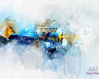 Biplane, Plane, Unique Design, Digital Art Print, Gift idea, Home decor, Fine Art, Watercolor