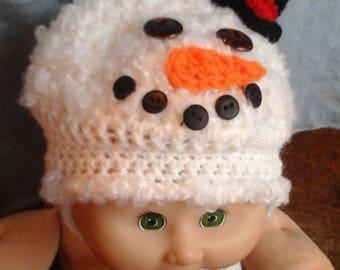 Whimsical crochet childs snowman hat