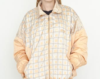 VINTAGE Yellow Checked Lightweight Shell Retro Jacket