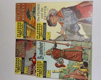 Classics Illustrated, No. 2 Ivanhoe, No. 29 The Prince and The Pauper, No. 63 The Man Without a Country, No. 100 Mutiny on the Bounty