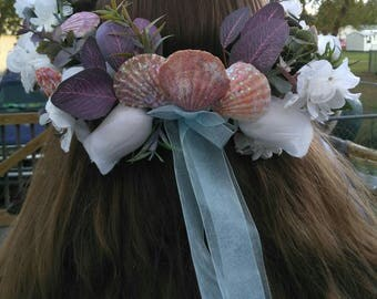 Hair wreath - beach, nautical, eucalyptus, seashells, ribbon, made just for you!
