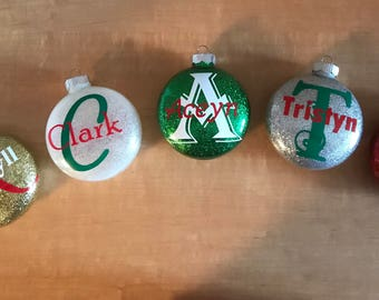 Personalized glass Christmas ornament name glitter