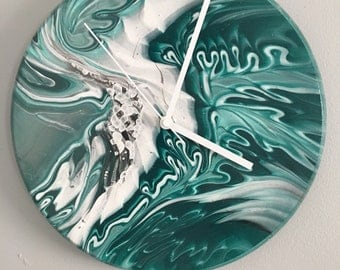 Fluid art wall clock, teal, white, black, gray
