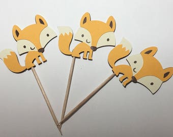 Set of 12 Fox Cupcake Toppers