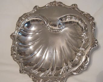 Stupendous American Silverplate Footed Scallop Shell Server