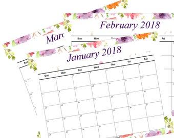 2018 Printable Calendar Floral Watercolor