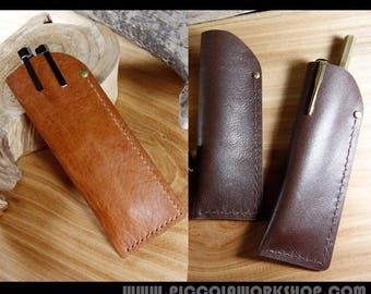 Hand Stitched Leather Pen Case, Leather Pen Holder,Handmade Leather Pen Pouch
