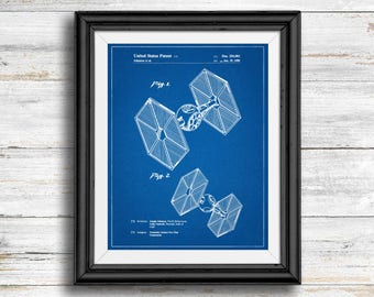 Star Wars TIE Fighter Full Image Patent Poster, TIE Fighter Print, Starwars Art, Star Wars Characters, Vintage, Spaceship, Wall Art Decor
