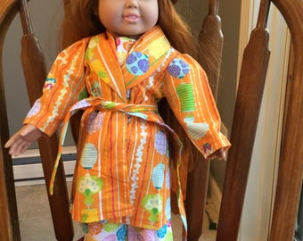 """Cotton pajamas with robe and slippers fit 18""""dolls such as American girl."""
