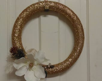 Gold Glitter Magnolia Wreath