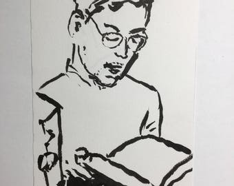 Original Ink Drawing of a Man Reading in the Boston Subway