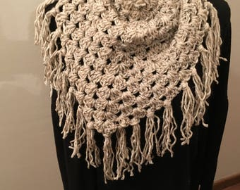 Crochet, Fringe, Scarf, Triangle, Oatmeal,