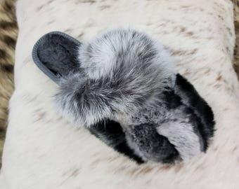 Greek Handmade Genuine RABBIT & CHINCHILLA REX Fur Women's Slippers