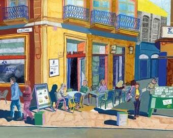 Cafe La Boheme print A4/A3