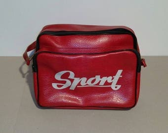 Vintage Sport Leather Bag/Red 80s Bag