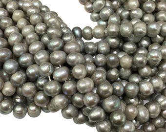 9-10mm Gray Freshwater Pearl Beads, Potato Shape ,Approx 15 Inch Strand,Hole 0.7mm