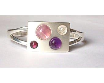 Modernist garnet and amethyst gemstone cuff bangle