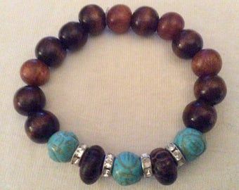Turquoise and wooden beads