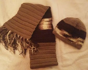 beige, brown, & multi-colored scarf with matching hat