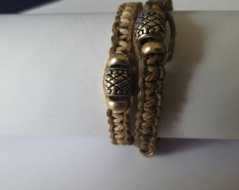 Double wrap hemp bracelet