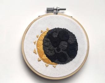 "Hello, Moon // 4"" Handmade Embroidery Hoop"