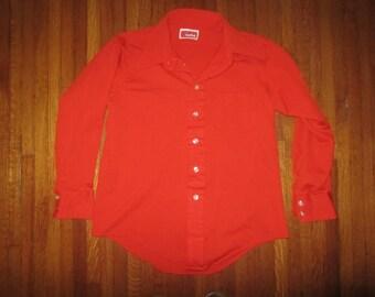 70s Disco Orange Shirt Large 16 1/2 Manhattan Manknit Stretch Long Sleeve Vintage