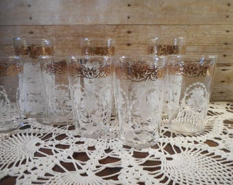 9 Vintage Gold Trim Drinking Glasses, Federal Glass Co.