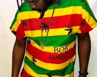 "Bob Marley top/African clothing/Kent  shirt/Ankara shirt/420 shirt/4.20 top/unisex top/men""s shirt/ethnic top/"