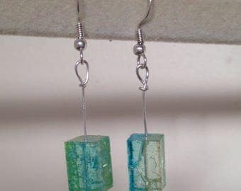 Sterling silver hook drop earting with multi tonal blue green yellow glass bead