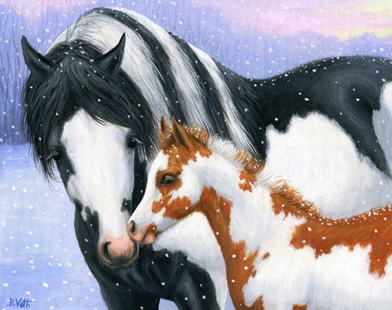 Pinto Horse Coloring Pages: Paint Horses Mare And Foal Pinto Horse Winter Snow Counted