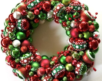 "Christmas Vintage ""look"" ornament  wreath, red and green, glass ornaments"