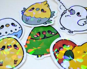 Holographic Birb Stickers Bird Birds Pet Planner Diary Journal Kawaii Cute Sticker Vinyl Glossy Sparkle Glitter Parrot Budgie Cockatoo