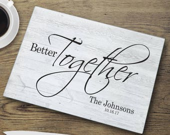 Personalized Better Together Modern Glass Cutting Board - Personalized Cutting Board - Cutting Board - Last Name Board