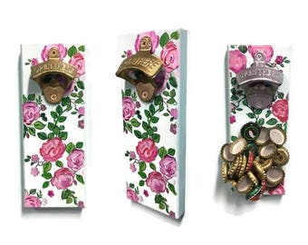 Cap Catcher Magnetic Bottle Opener - Fridge Mount - Floral Rose Design - Hand painted - Cap Catcher - Kitchen Decor - Indoor/Outdoor