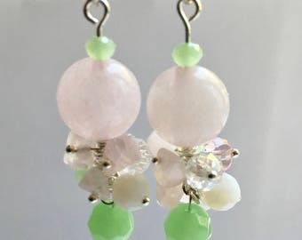 Rose quartz earrings,earrings of natural stones,earrings for a woman,earrings for a girl,romantic earrings